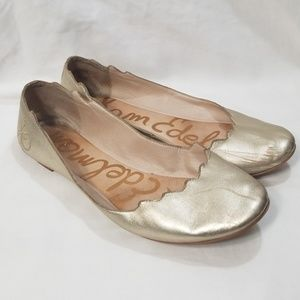 Sam Edelman Augusta Gold Scalloped Ballet Flat 8.5